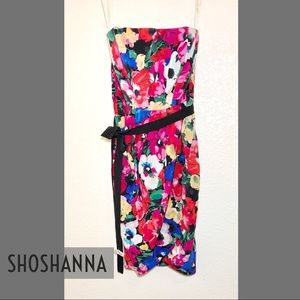 SHOSHANA floral strapless dress SZ 0